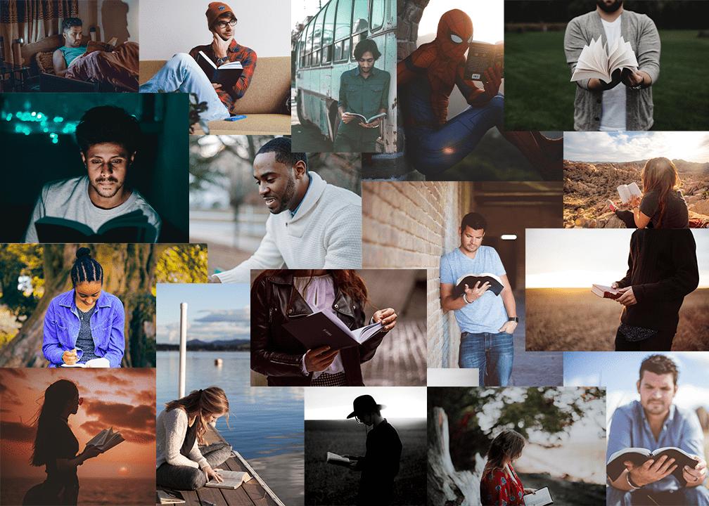 Collage de personas leyendo